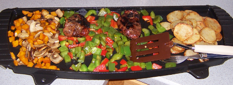 Griddle lamb and veggies for two